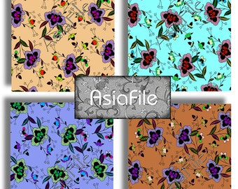 "Digital Printable ACEO Size Modern Asian Fusion Floral 2.5"" X 3.5"" Two Sheets 12 Images Cards Labels Decoupage Backgrounds ACEO 46"