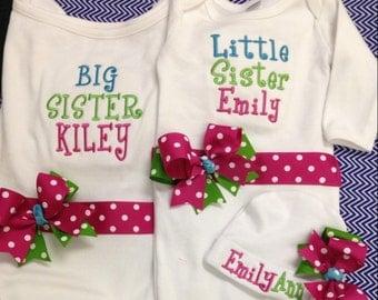 Blue, Green and Fuschia Big Sister/Little Sister Shirt & Gown Set