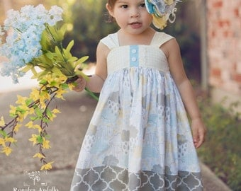 Girls Reverse Knot Dress April Showers Collection Blue Yellow Gray Toddler Infant Girls