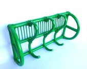 LEAF GREEN  Coat RACK/ Up Cycled Bamboo Wall Rack