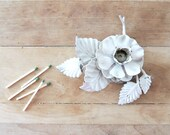 CREAMY White Tole Metal Floral Candle Holder Candlestick