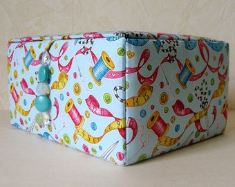 fabric covered sewing box, craft work box, sewing container, craft box