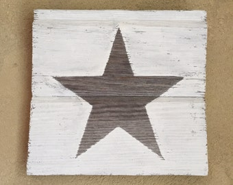Rustic Barn Wood Wall Decor  • Star Silhouette Wall Art • Wooden Chalk Paint Wall Hanging • Ready to Ship