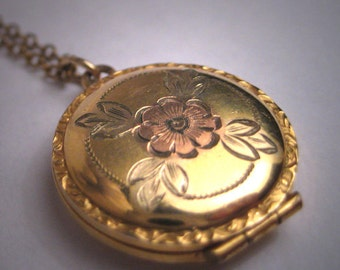 Antique Victorian Gold Floral Locket Necklace Vintage Rose Yellow Gold
