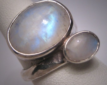 Vintage Moonstone Ring Large Gemstone Sterling Silver Estate Wedding