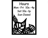 Store Hours / Shop hours / leaves design / store sign / open closed / vinyl sign / window sign / business hours