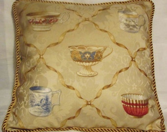 French Country European Cottage Pillow English Tea Cup Gold