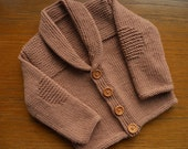 Cardigan/jacket for a baby boy age 3-6 months, approx chest 16-18 ins, luxury merino/silk/cashmere yarn in light brown