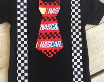 Nascar Race Inspired Iron On Tie with Suspenders Applique DIY