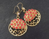 Round Dangly Coral Pink Colored Agate Turkish Ethnic Earrings - Gold Plated Brass
