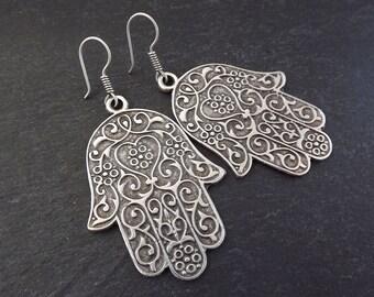 Hamsa Hand of Fatima Statement Tribal Ethnic Silver Earrings - Authentic Turkish Style