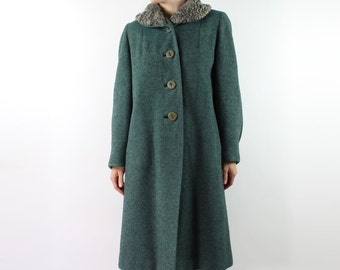 VINTAGE 1950s Persian Lamb Collar Coat Green Small Medium