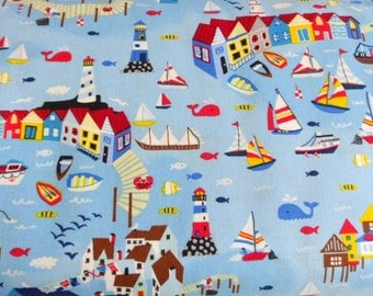 Nautical Fabric Mini Marina Cotton Fabric TImeless Treasures Novelty Fabric  Whimsical Material Sewing Fabric Quilting Fabric