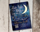 DIY Printable To the Moon and Back Baby Shower Invitation