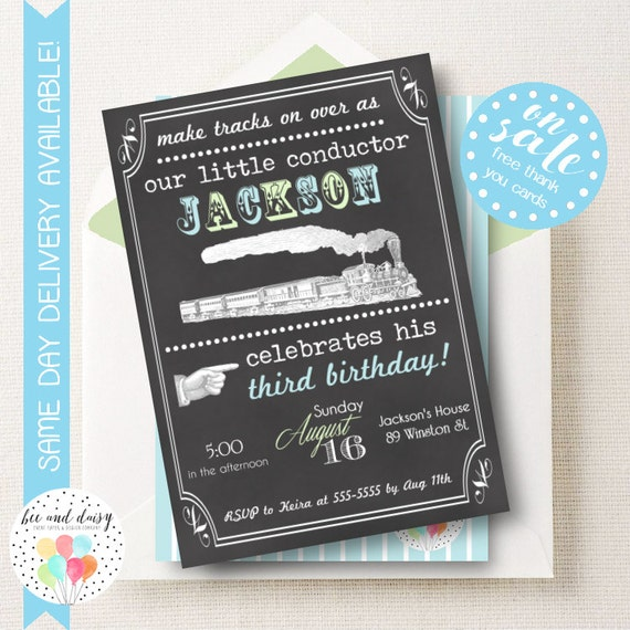 Vintage Train Invitation, Train Birthday Invitation, Train Party, Boy First Birthday, Boy Birthday, Chalkboard Train Invitation