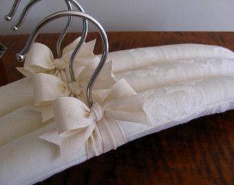 Bridal Hangers, Ecru Bridal Hangers, Clothing Hangers, Wedding Hangers, Ecru Bridesmaid's Hangers, Padded Hangers, Ecru Padded Hanger Set