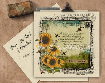 Be A Weed Handmade Seeded Paper Card.