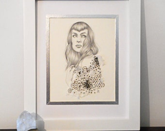 Francesca. Original, beaded and embroidered graphite drawing. 9 x 12.