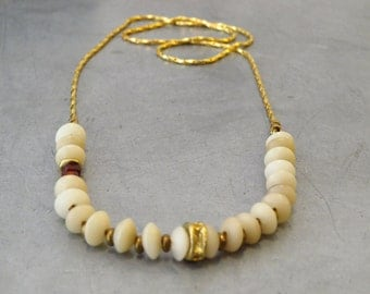 white natural seeds long necklace - 24K gold plated