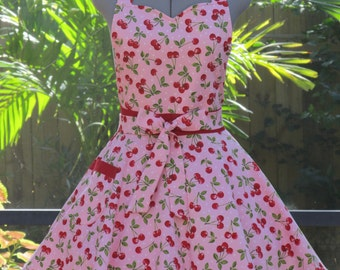 Sale- Cherries Jubilee Sweetheart Apron - Full of Twirl Flounce