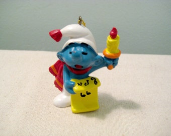 Vintage Smurf Christmas Ornament - Candle