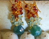 Colorful Gemstone Cluster Earrings Mystic Green Chalcedony Mozambique Garnet, Madeira Citrine and Moss Aquamarine on Gold Vermeil