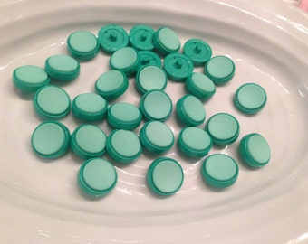 All the same button - 30 vintage two tone green plastic shank buttons