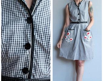 1950s Dress // Gingham Floral Day Dress // vintage 50s dress