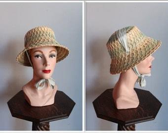 1950s Hat // Day in Monaco Straw Hat // vintage woven 50s hat