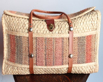 1970s Tote // Summer Picnic Large Woven Tote Bag // vintage 70s tote bag