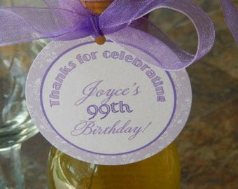 """30 Mini Wine or Champagne Bottle Custom 2"""" Favor Tags - Thanks for Celebrating Birthday - Party Gift Favors - Personalized Printed Tags"""