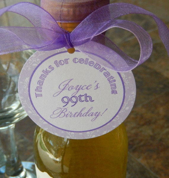 "50 Mini Wine or Champagne Bottle Custom 2"" Favor Tags - Thanks for Celebrating Birthday - Party Gift Favors - Personalized Printed Tags"