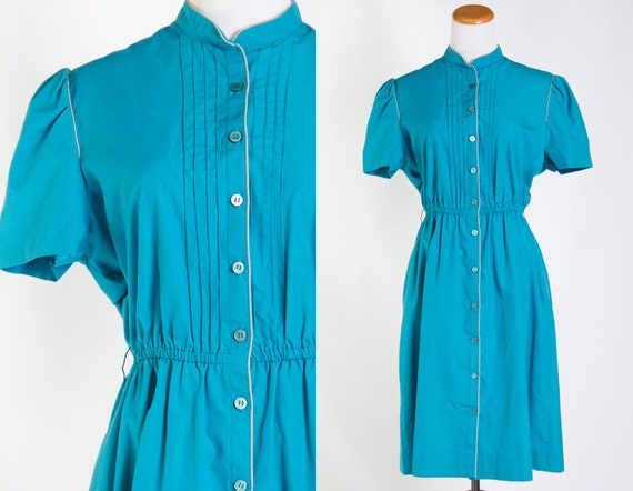 Vintage Teal Turquoise Diner Dress w/ Pleated Front Puff Sleeves Shirtwaist / Elastic Waist 1980s 80s Aqua Peacock Teal Secretary Stewardess