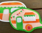 pot holders, potholders, camper, camping, quilted, happy, cooking, kitchen, orange, green, baking