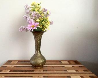 Petunia- 1970s bronze finish engraved vase