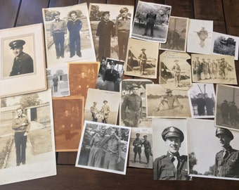 Big Lot of 24 WWI & WWII Military / Soldier Related Photos