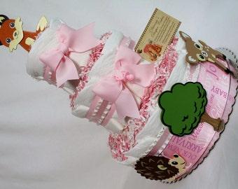 Woodland Animals Girls Baby Diaper Cake Shower Gift or Centerpiece