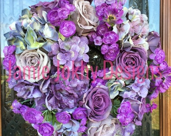 Hues of Violet Floral Wreath/Wall Art