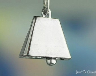 Sterling Silver Cow Bell Cowbell Charm Movable Moveable 3D Solid .925