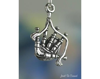 Bagpipes Charm Sterling Silver Scottish Scotland Instrument Solid .925