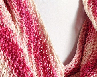 Cotton Infinity Scarf, Shades of Pink Scarf, Pink Gradient Yarn, Reversible Cotton Scarf