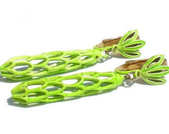 Bright Green Enamel Clip Earrings Drop Style Mod Design with Leaves and Openwork Metal - 60s Retro Mod Vintage Jewelry