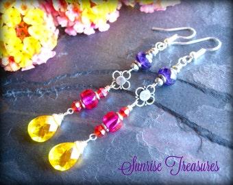 Bright Lemon Yellow Quartz Tear Drop Earrings, Purple Amethyst, Hot Pink, Red, Long Gemstone Dangle Earrings, Colorful Earrings