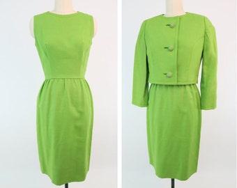 LANZ ORIGINAL 1960s Lime Green Suit Dress