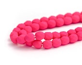 Hot Pink Neon Matte Fire Polished Czech Glass Beads, Opaque Saturated Colour, Round Spacer Beads, 6mm x 25pc (0018)