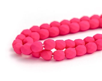 WE'RE BACK! Hot Pink Neon Matte Fire Polished Czech Glass Beads, Opaque Saturated Colour, Round Spacer Beads, 6mm x 25pc (0018)