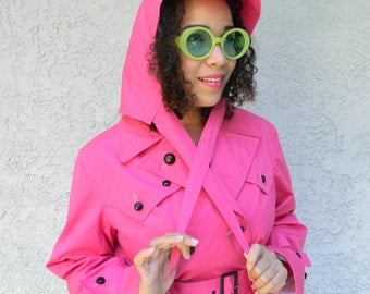 The Holly Golightly, Vintage 60s Mid Century GEORGE CO Pretty in Pink Raincoat Trench Coat Jacket, Size Large L, Audrey Hepburn Windbreaker