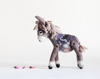Custom order.   Chantal - Mini  Felt Donkey. Art Toy. Felted Donkey. Handmade felt toy. grey, pale pink, blue . SPECIAL ORDER  for Nicky.