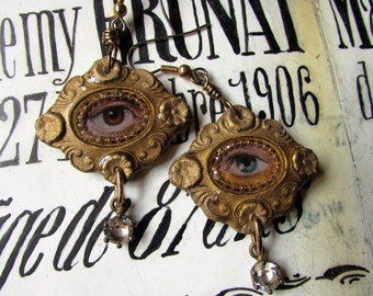SOLD TO P Victorian lovers eye earrings resin one of a kind jewelry assemblage gothic goth open back crystal madonnaenchanted