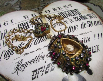 Loaded rhinestone necklace egg shrine Faberge crown cameo one of a kind jewelry assemblage handmade by Madonnaenchanted